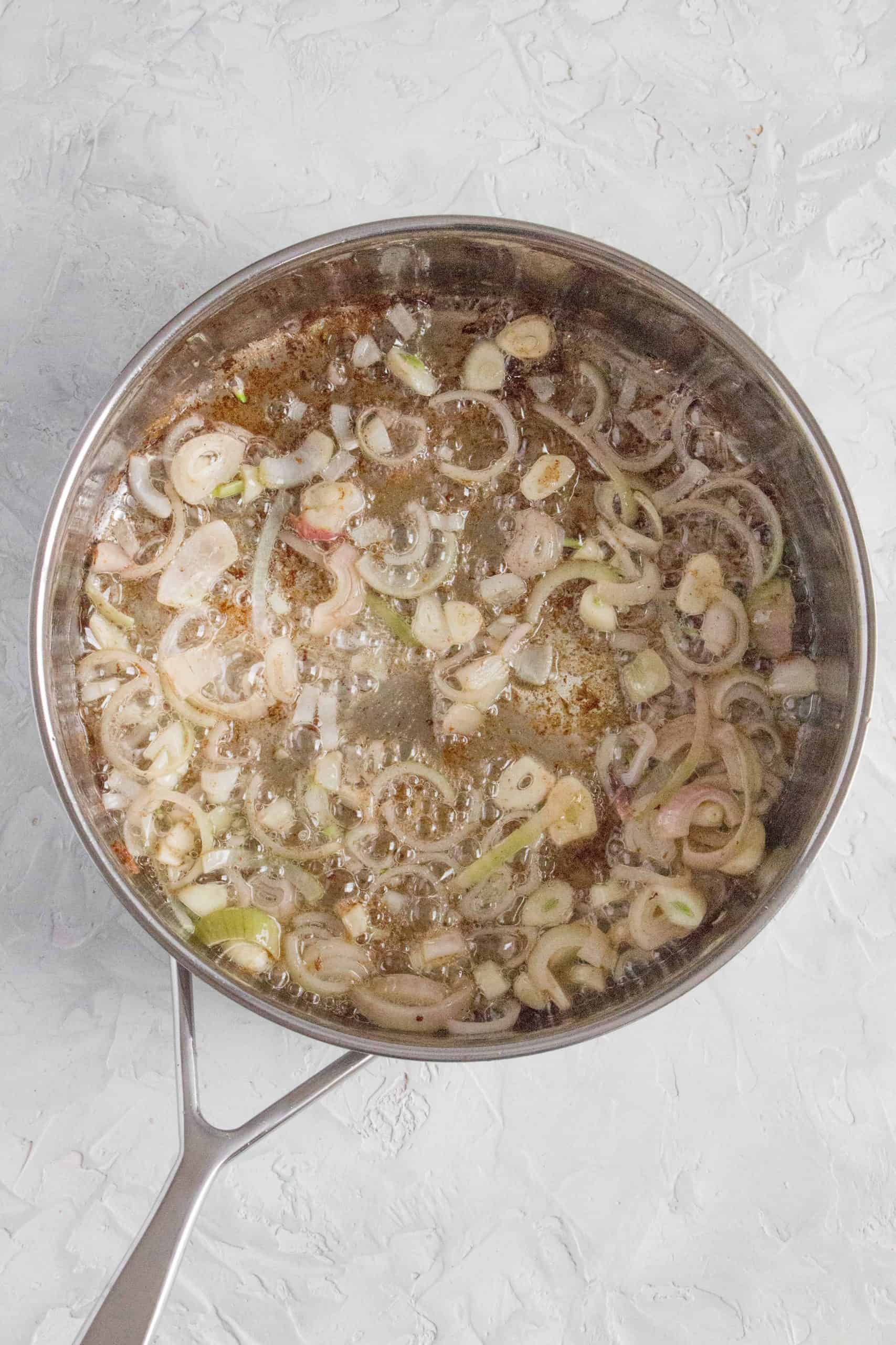 sauté your shallots and garlic until softened.