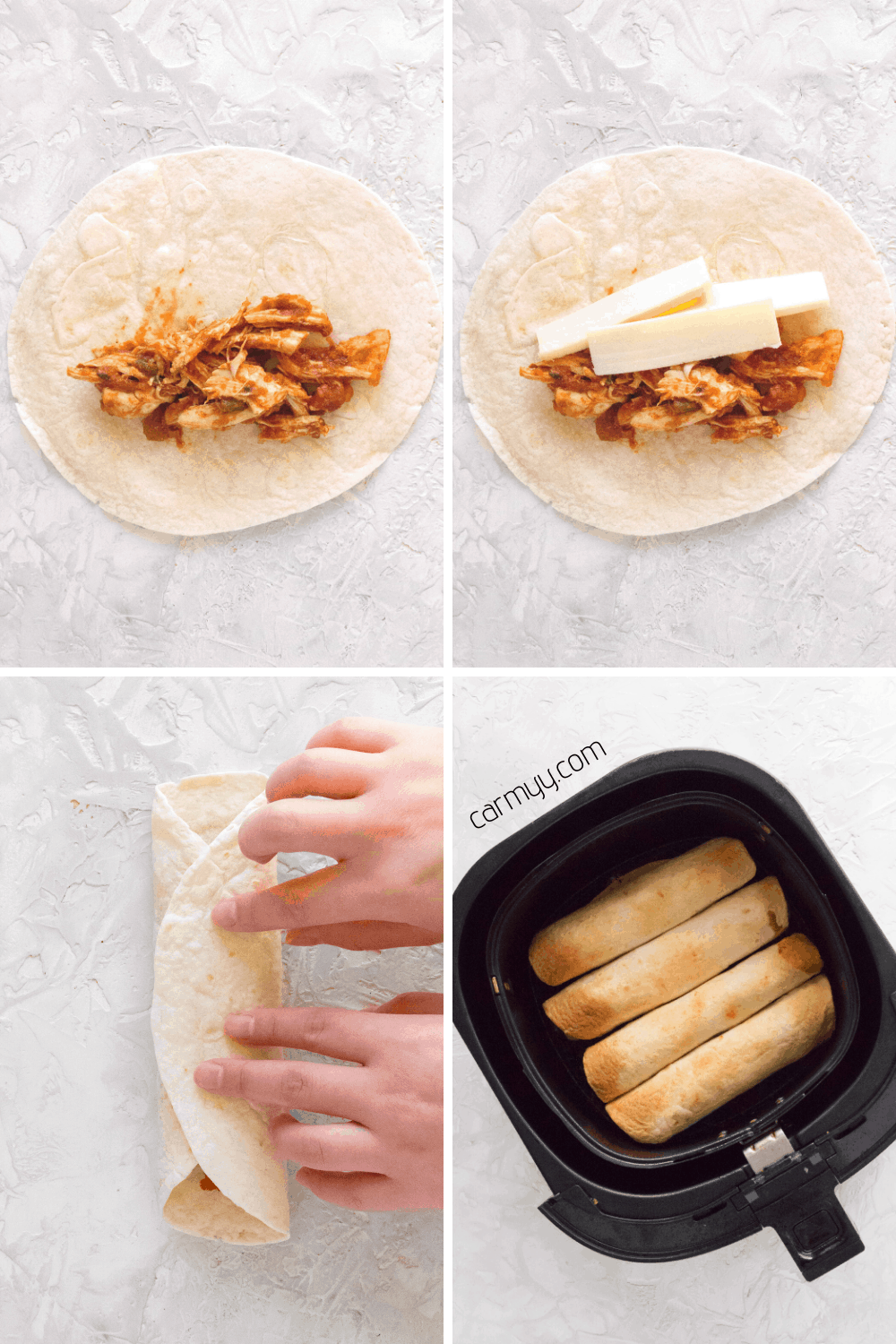 step by step image of how to roll up taquitos