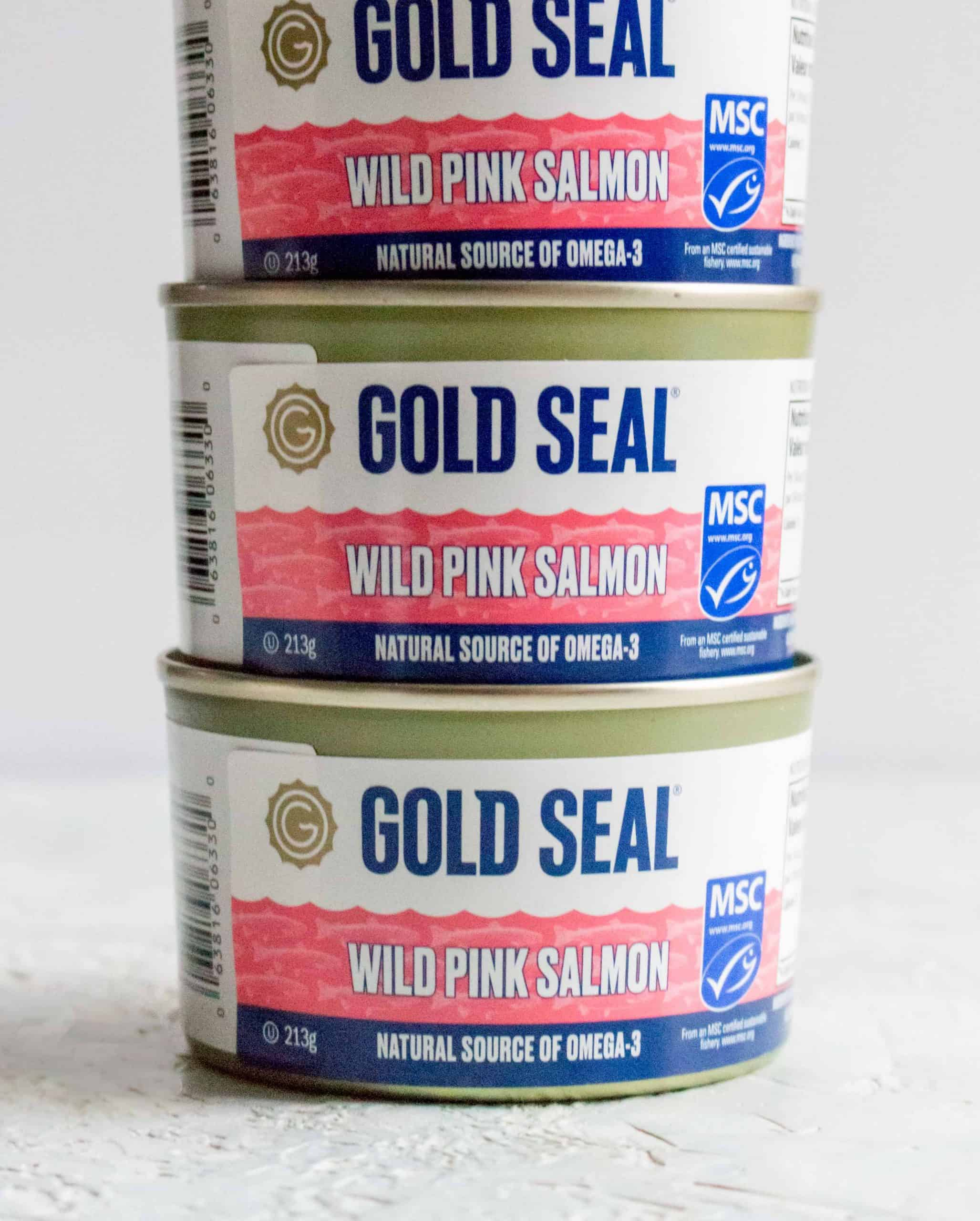 stack of gold seal wild pink salmon