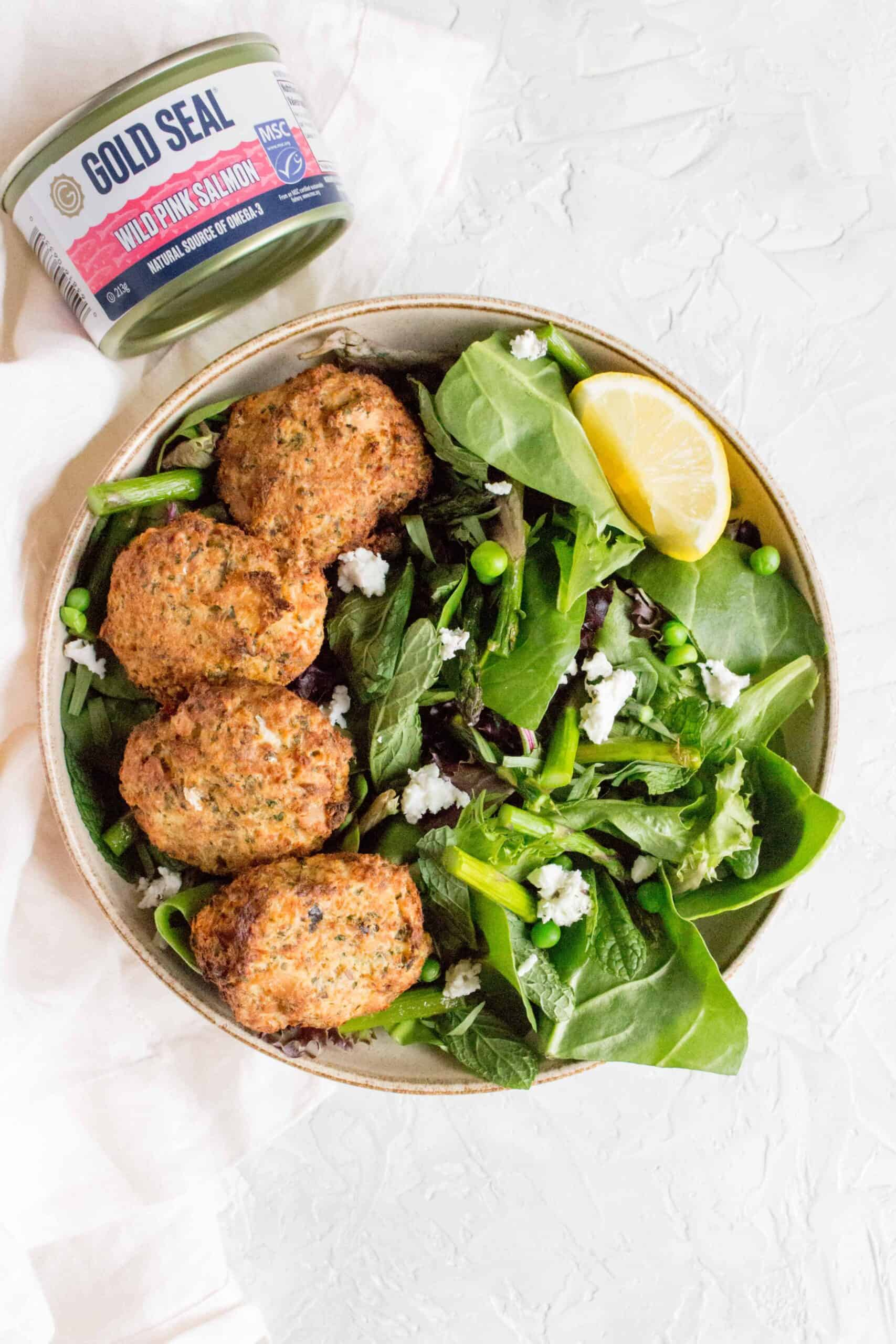 This Salmon Patties with Spring Salad is super easy to make and only takes a couple minutes to put together. Full of good and simple ingredients, this is an easy recipe to whip up in a pinch!