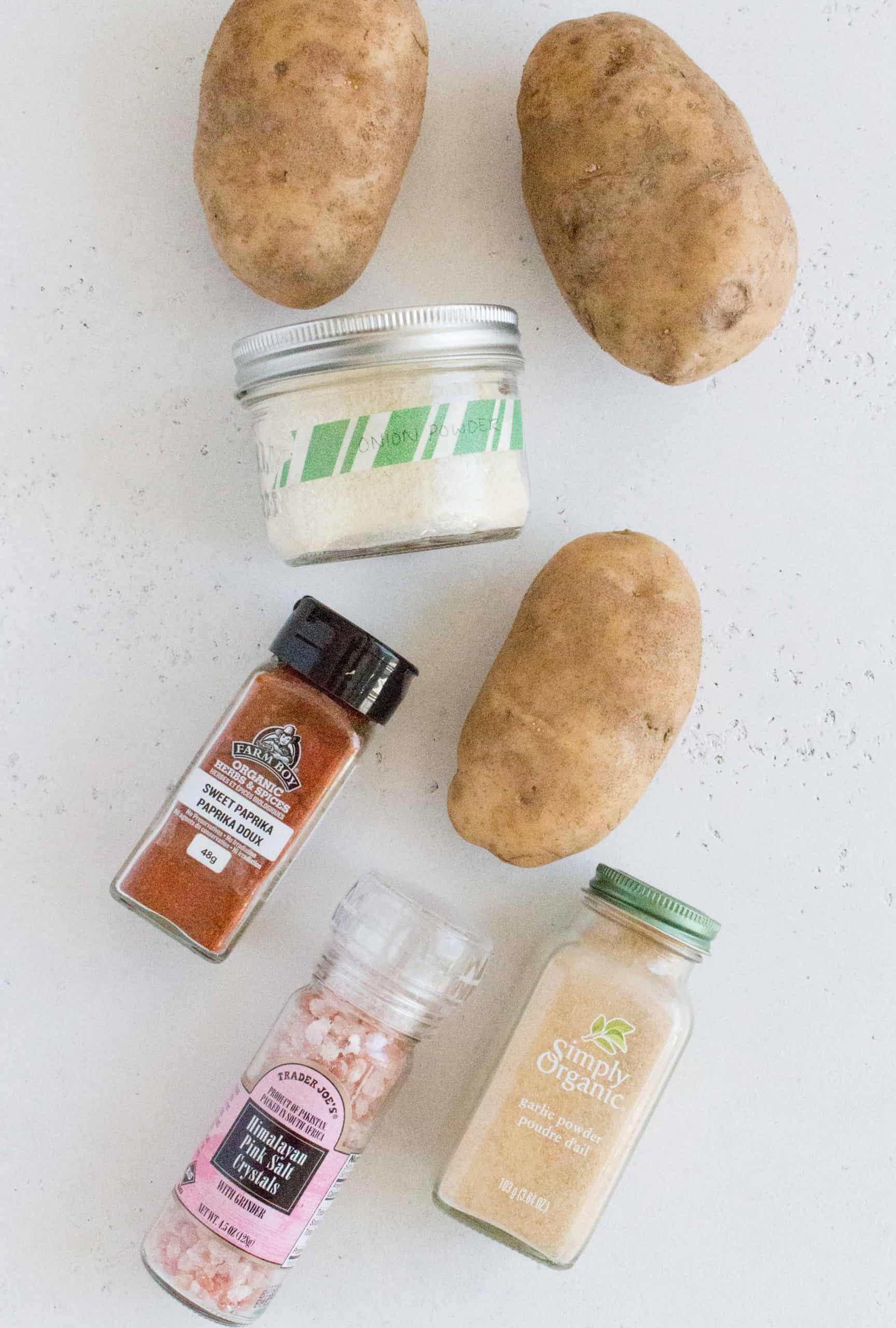 flatlay of ingredients to make breakfast potatoes in the air fryer