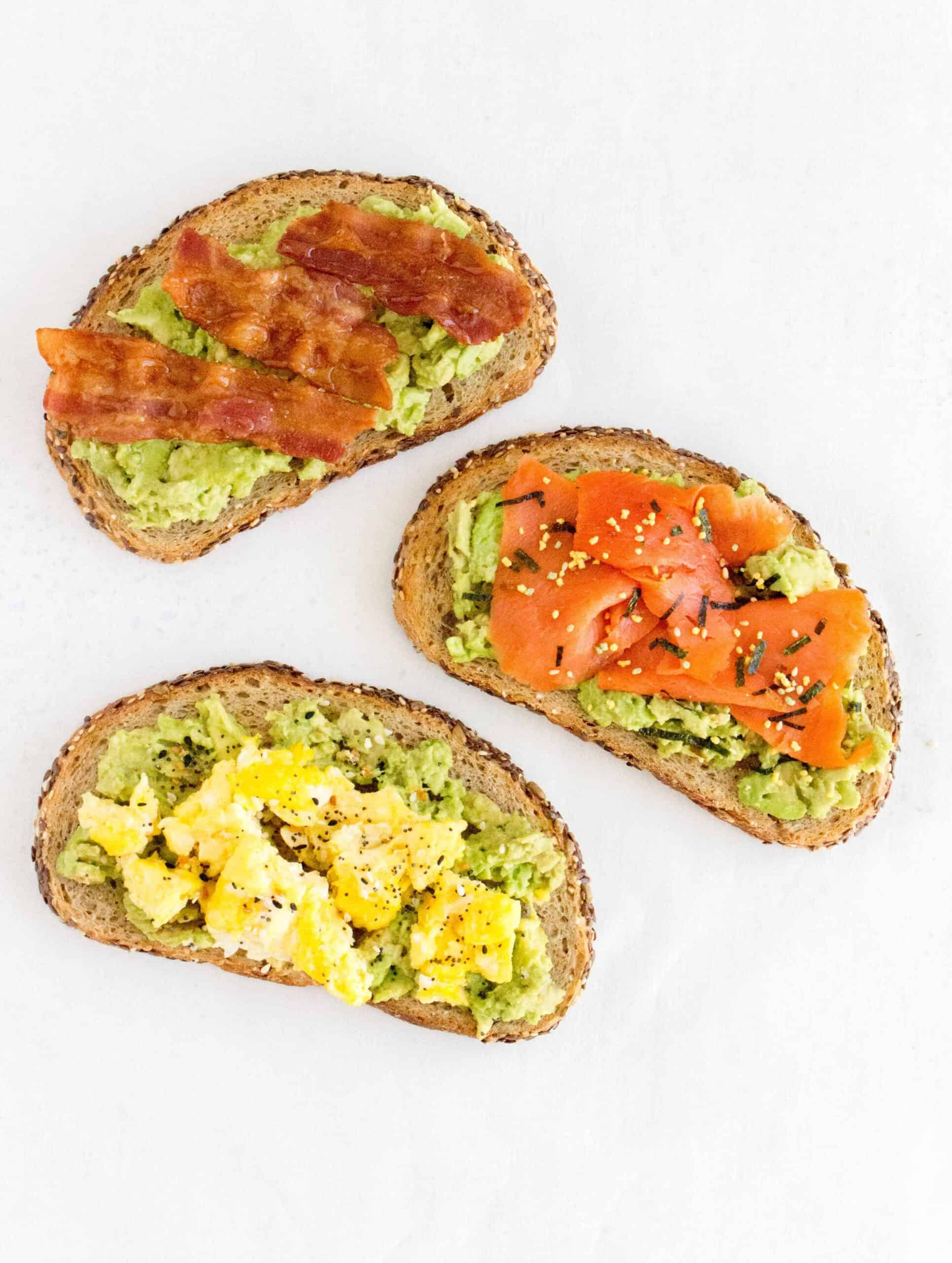 Quick and easy, here are three fun and delicious ways to mix up your avocado toast!