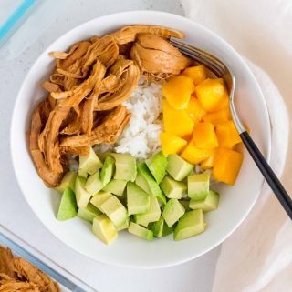 Serve this tangy Instant Pot Shredded Hawaiian Chicken over a bed of fluffy rice and you've got the perfect last minute dinner idea!