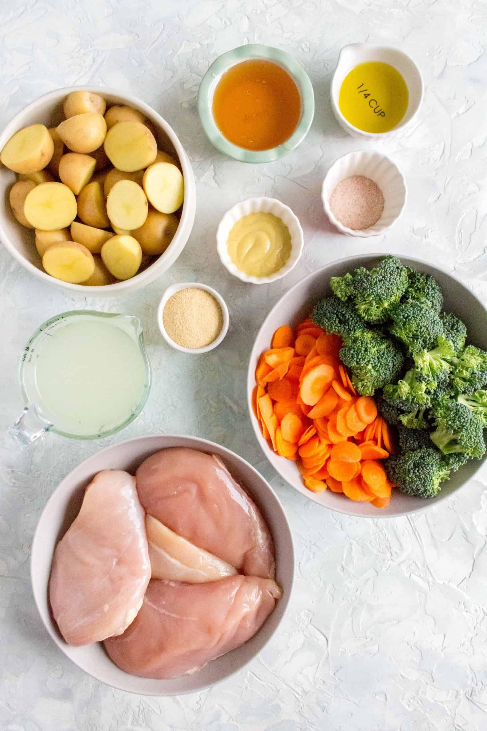 ingredient flatlay for instant pot honey mustard chicken breasts