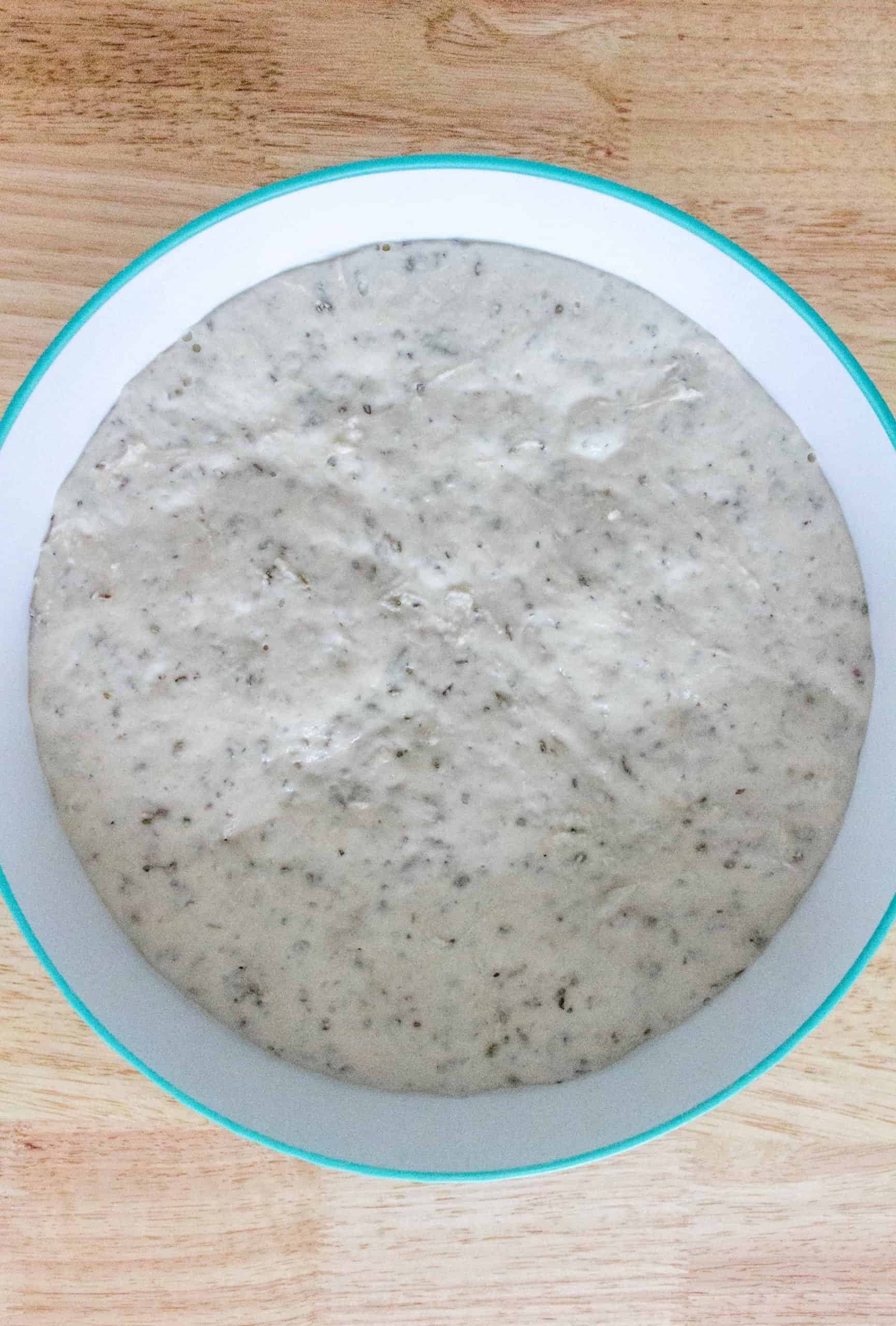 Cover the same bowl with plastic wrap, and let the dough rest in a warm spot in your kitchen for 12 to 20 hours, until the surface is dotted with bubbles and have doubled in size.