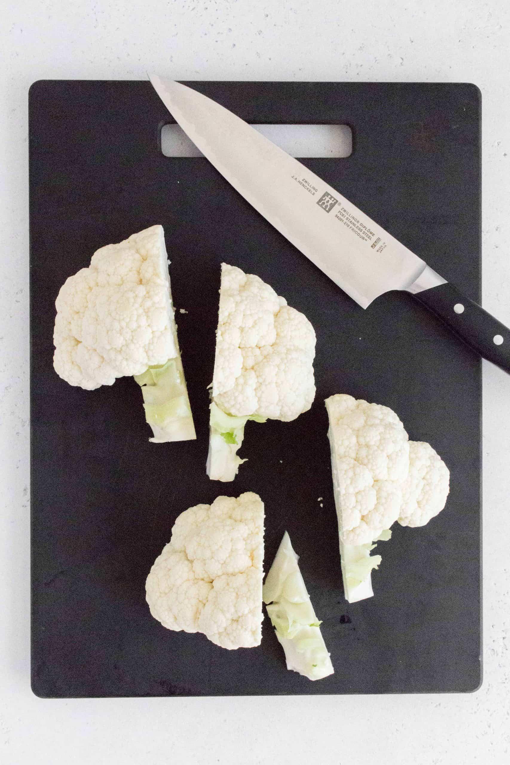 halves of cauliflower cut in half