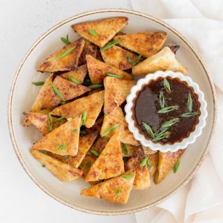 plate with crispy teriyaki tofu