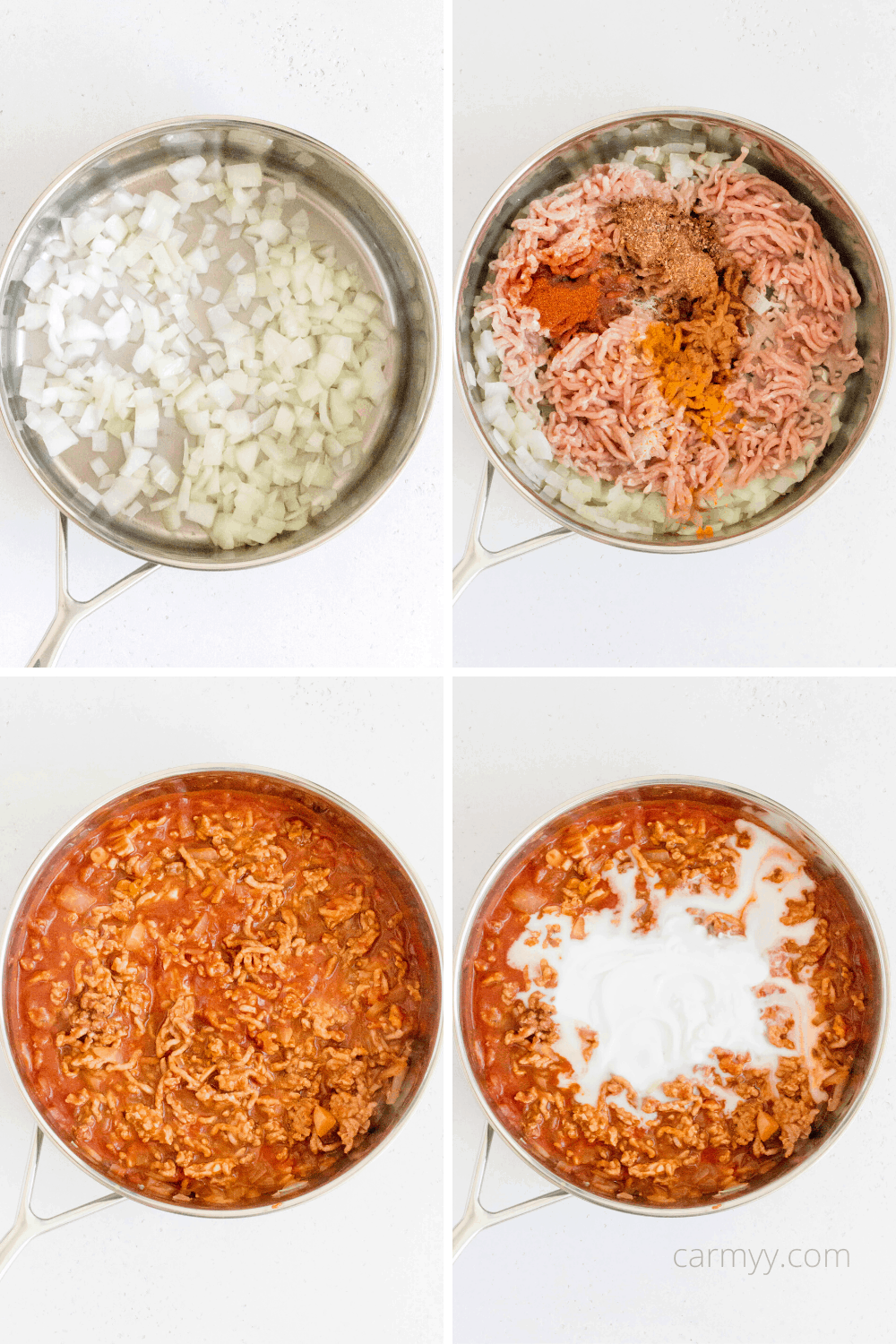 step by step instructions photos. sauté pan with onions, then with ground chicken and spices, then with passata sauce, and then coconut milk