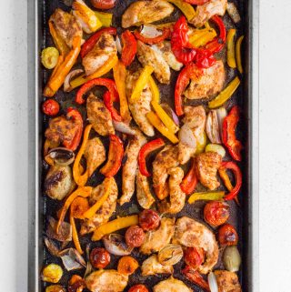 chili lime fajitas chicken in a sheet pan after roasting