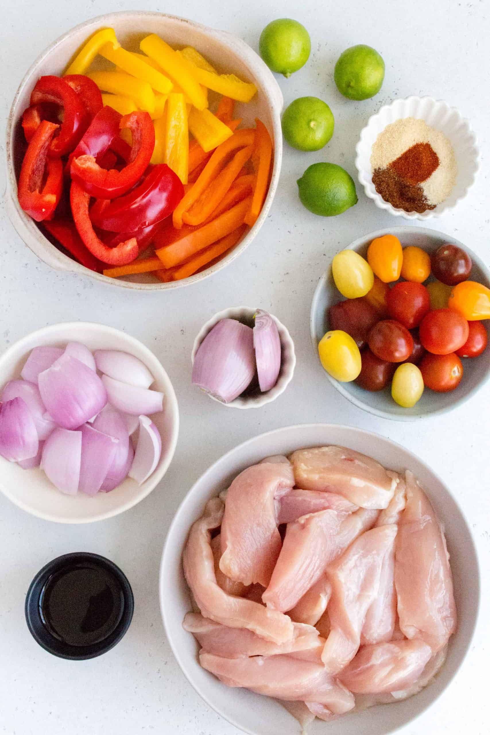 ingredients for chili lime chicken fajitas