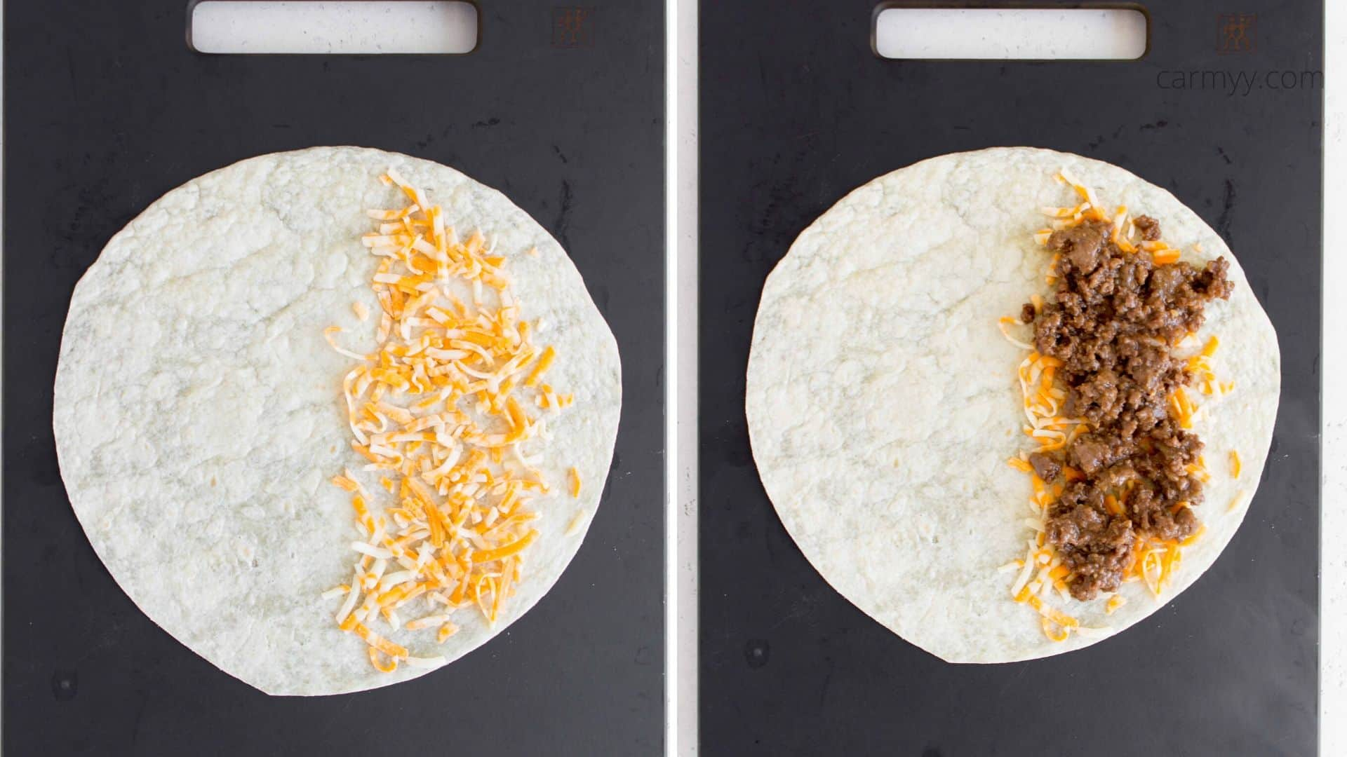 putting the quesadilla filling in the tortillas