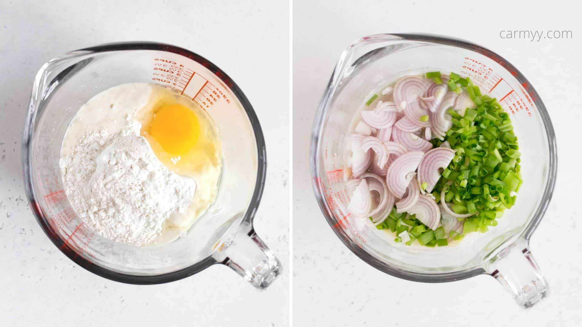 two measuring cups: one containing sourdough discard, flour, and egg, the other with green onions and shallots