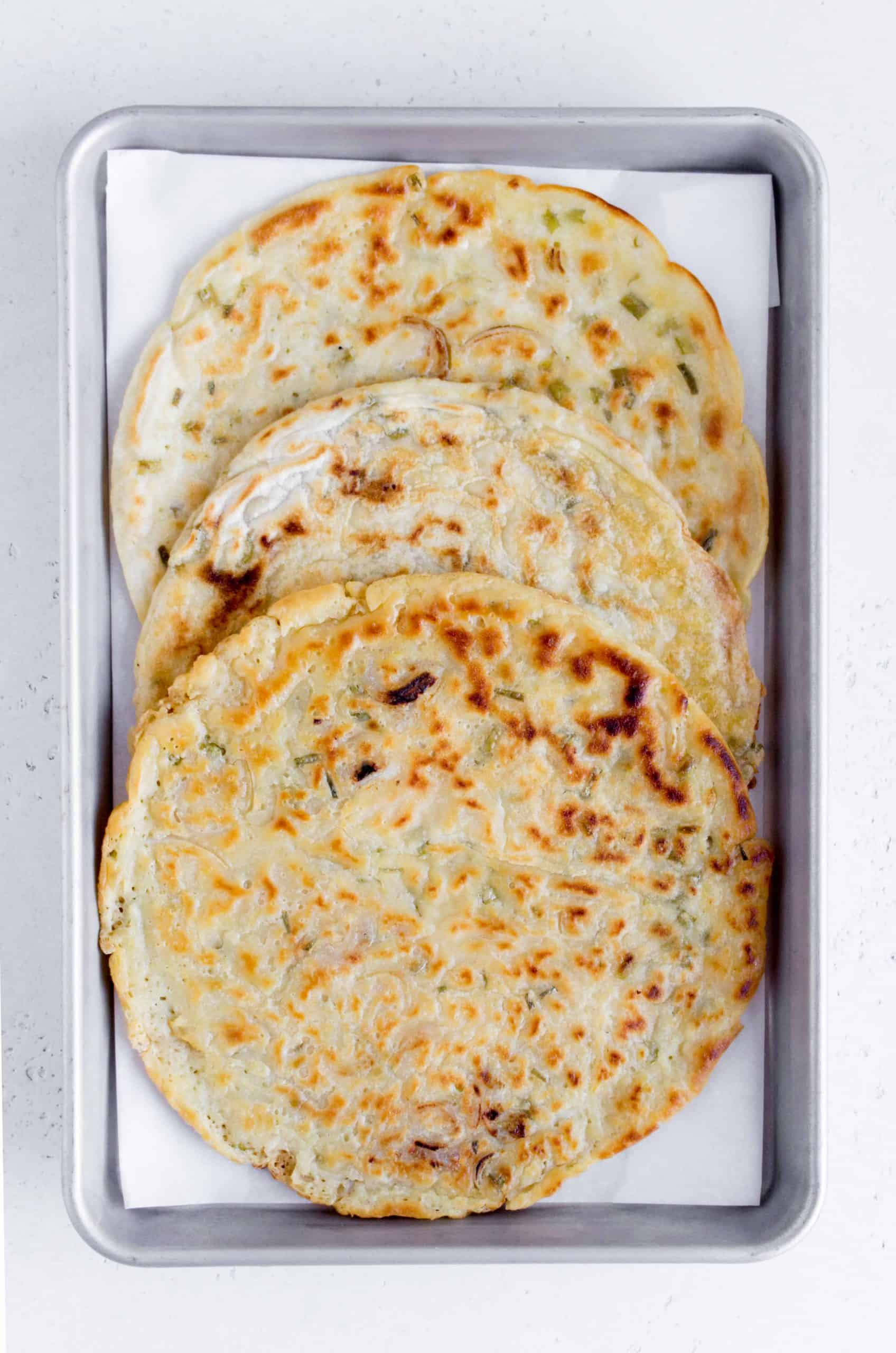 three green onion and shallot sourdough discard pancakes