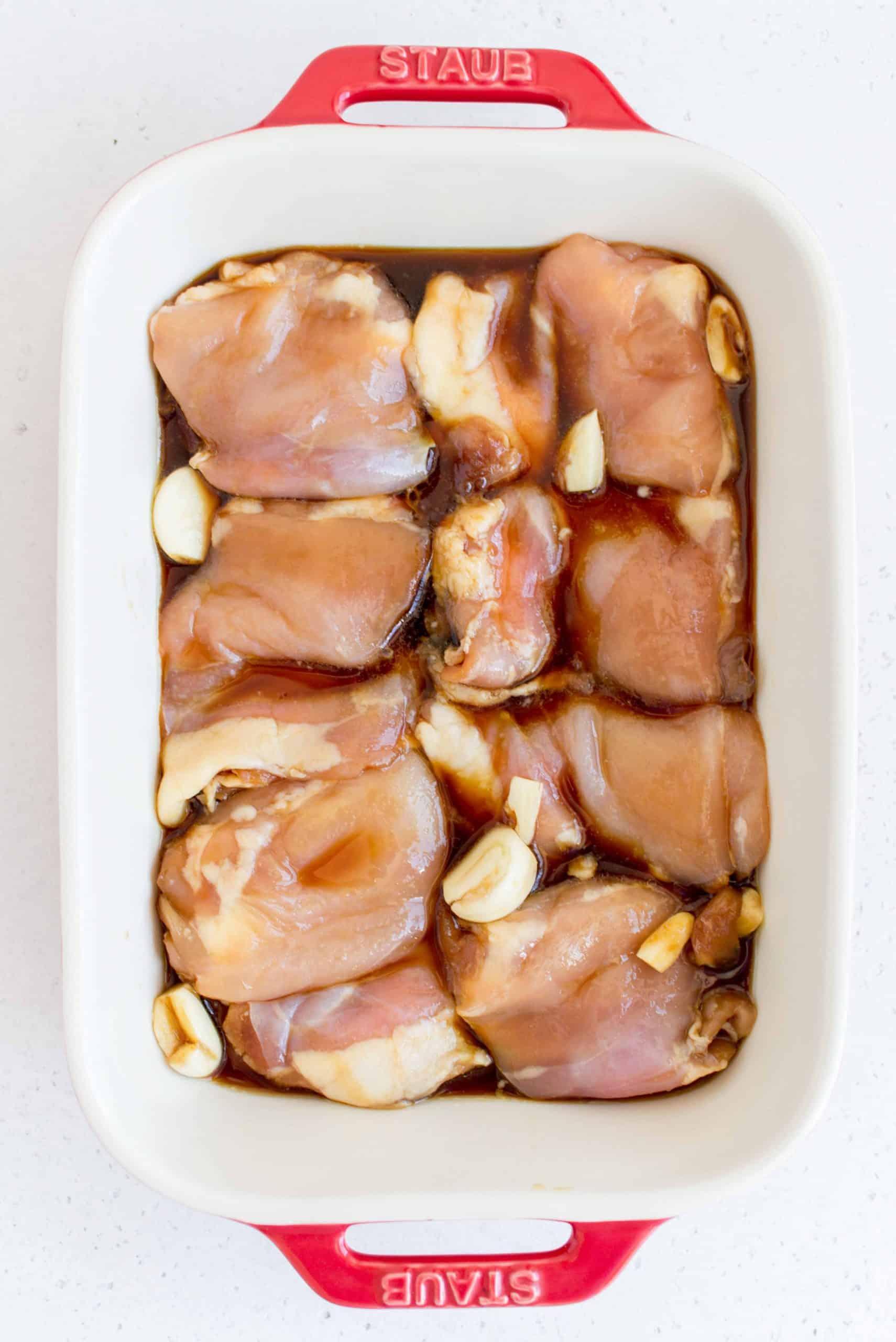 chicken thighs in a baking dish