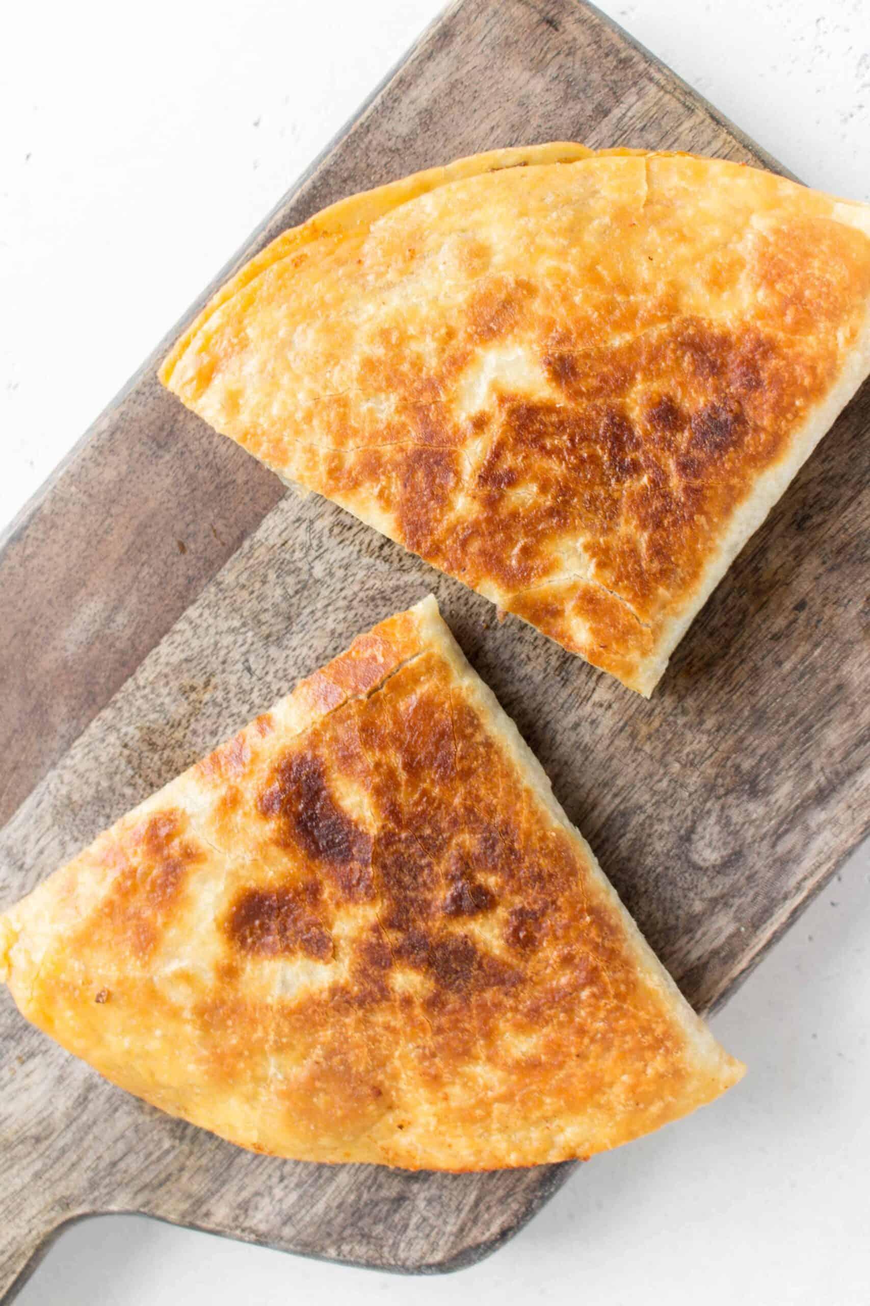 quesadilla cut in half