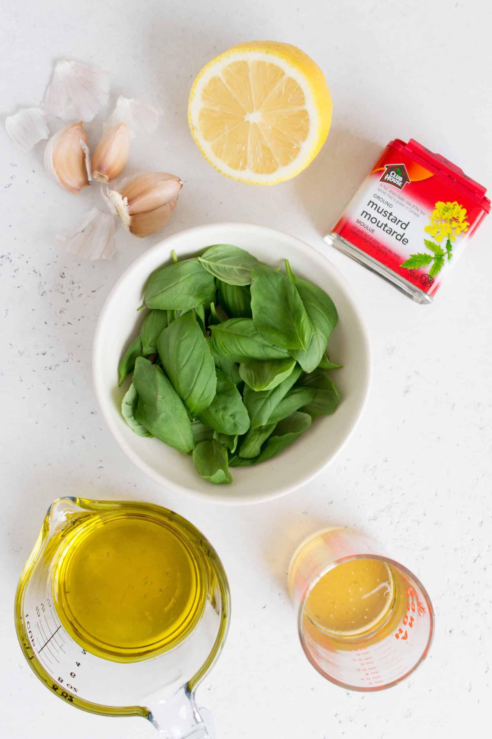 ingredients for lemon basil vinaigrette