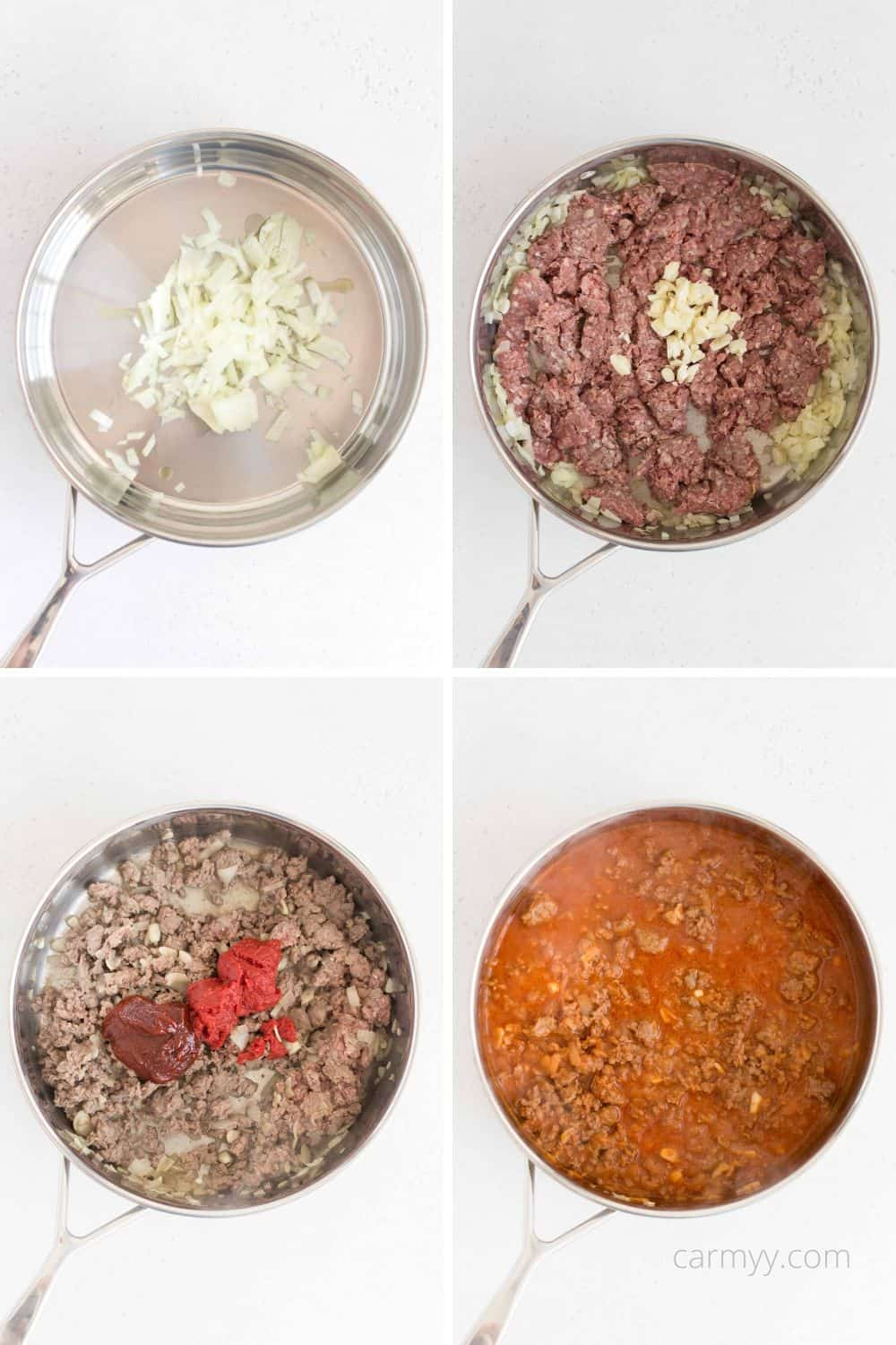 step by step of ingredients going into a sauté pan.