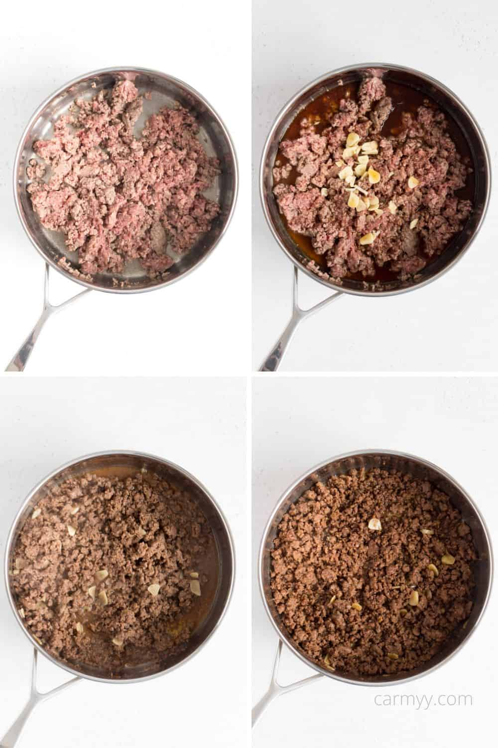 step by step image of the pan with ground beef added, sauce added, sauce cooked down.
