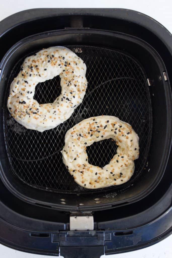 homemade bagel dough in air fryer