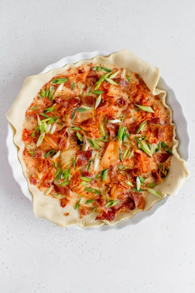 puff pastry quiche with kimchi green onion filling