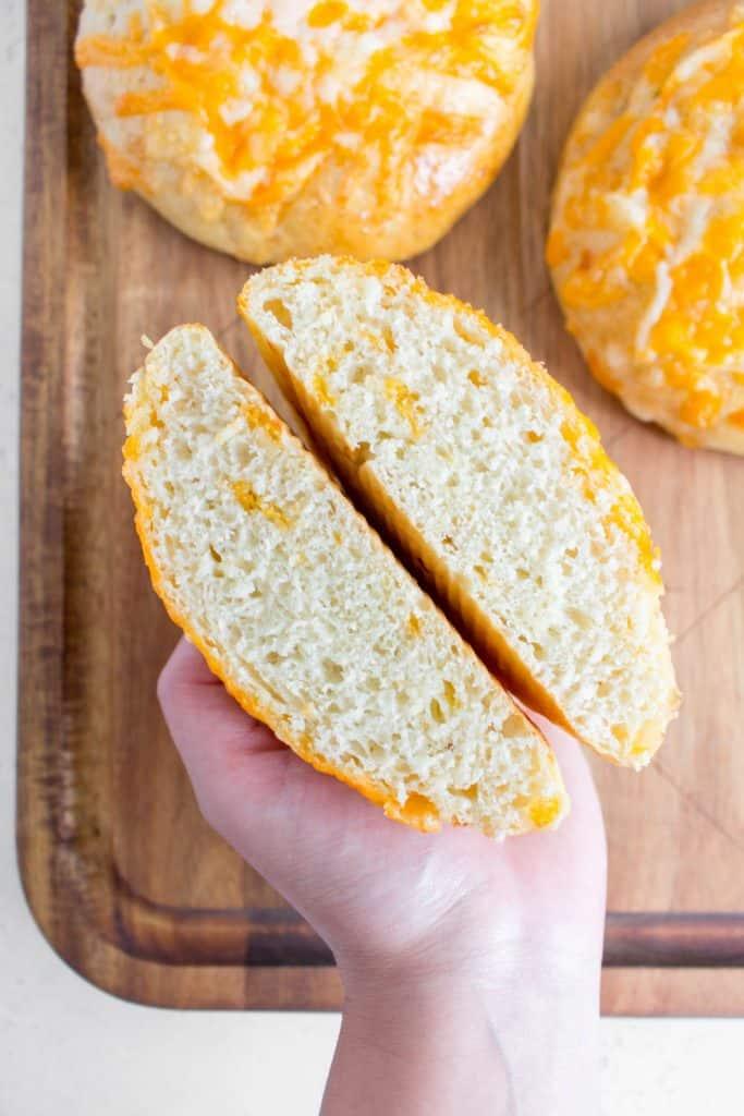cheddar cheesy buns cut in half