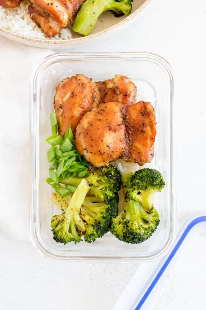 honey black pepper chicken with broccoli in meal prep container