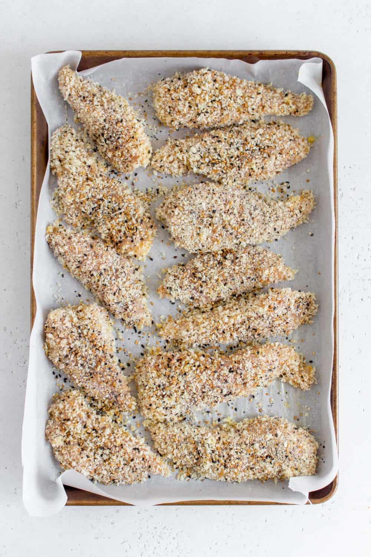 chicken tenders on a sheet pan