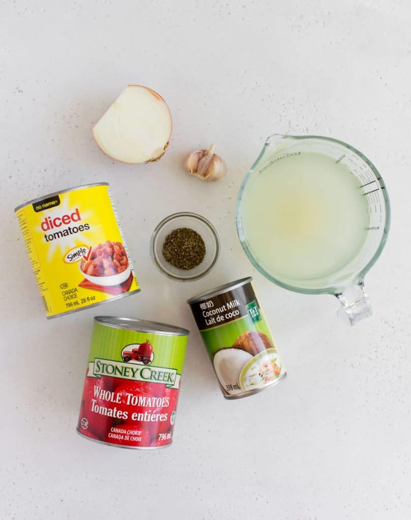 flatlay of ingredients for tomato soup