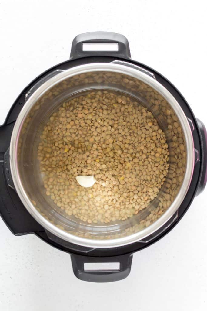 uncooked lentils in the instant pot with vegetable broth and a garlic clove