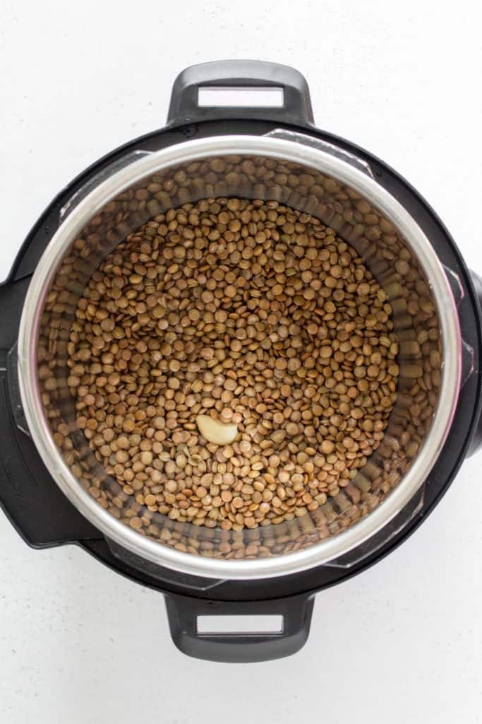 cooked lentils in the instant pot