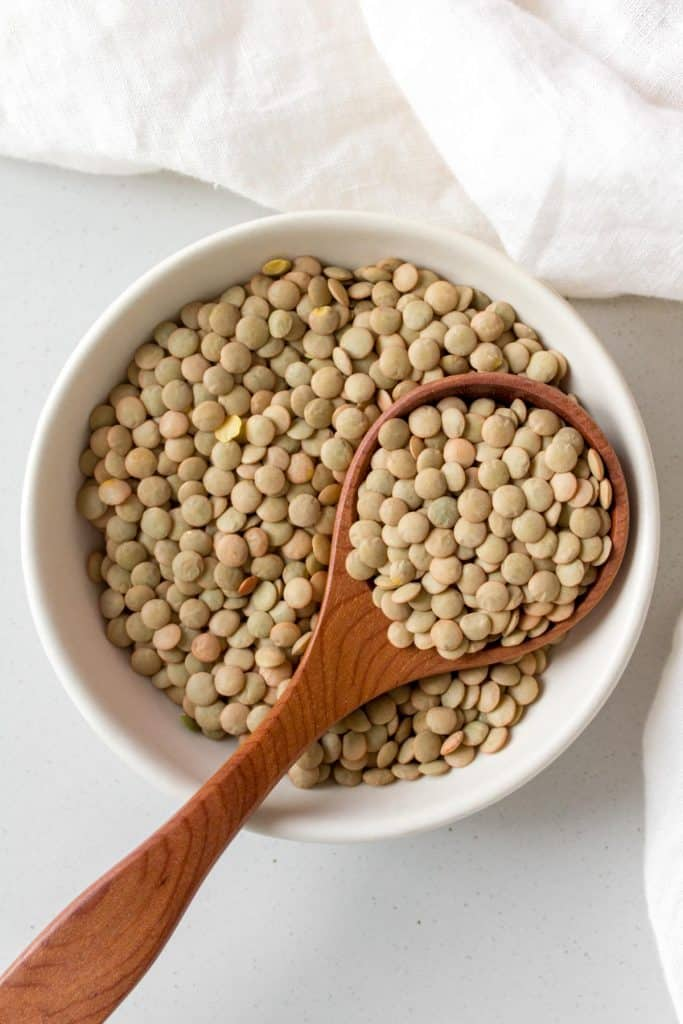 close up of dried green lentils