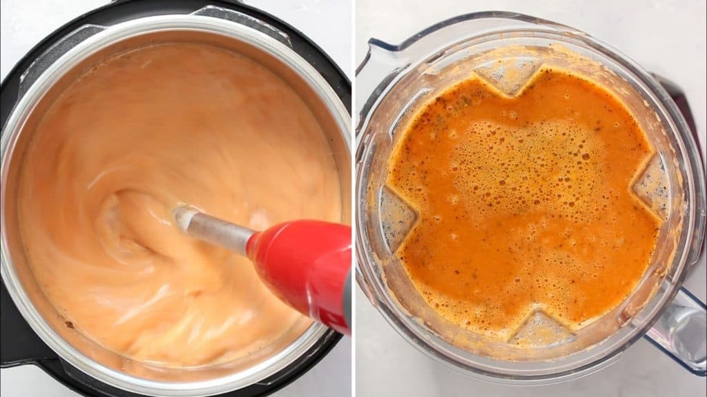 how to blend tomato soup with stick blender or with a blender