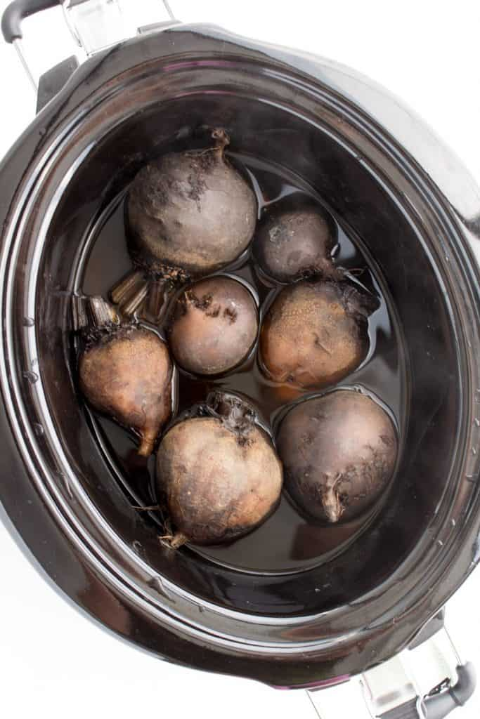 beets after they've been cooked in the slow cooker for 4 hours.