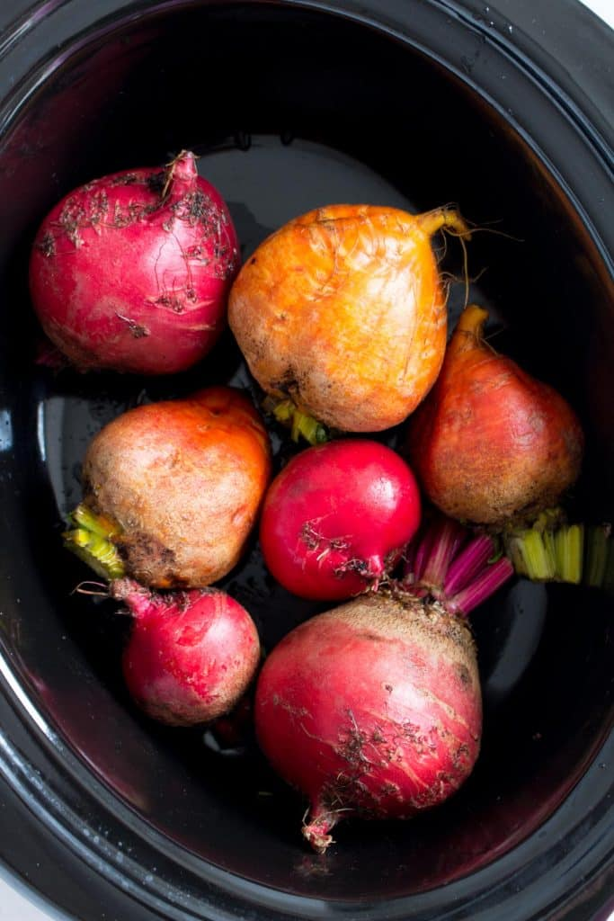 beets inside of a slow cooker