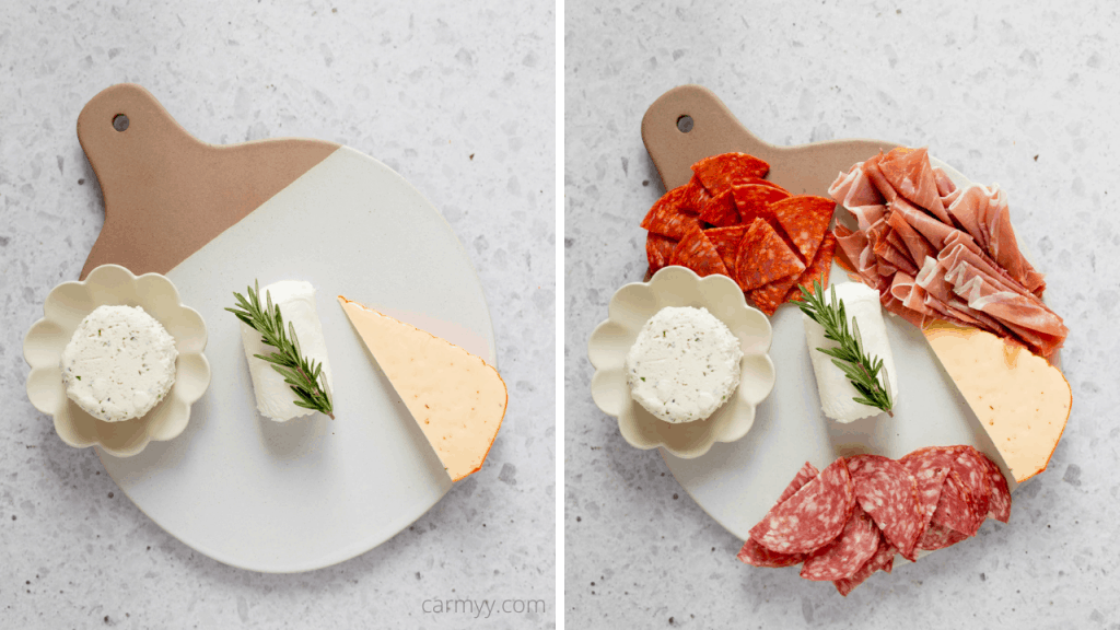 step by step on making a charcuterie board. step 1, add the cheese onto the board. step 2, add in the meat.