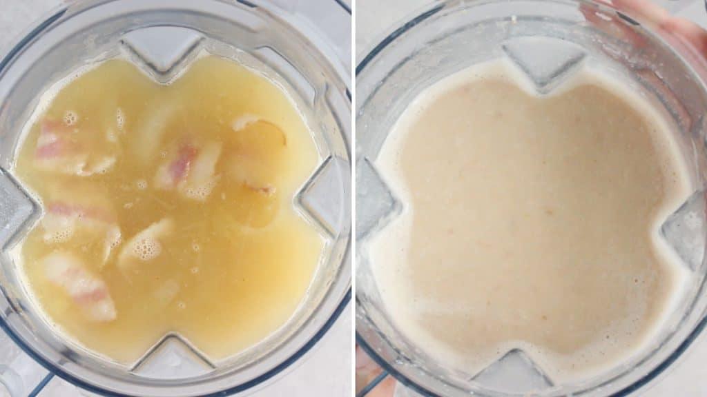blending soup in a vitamix