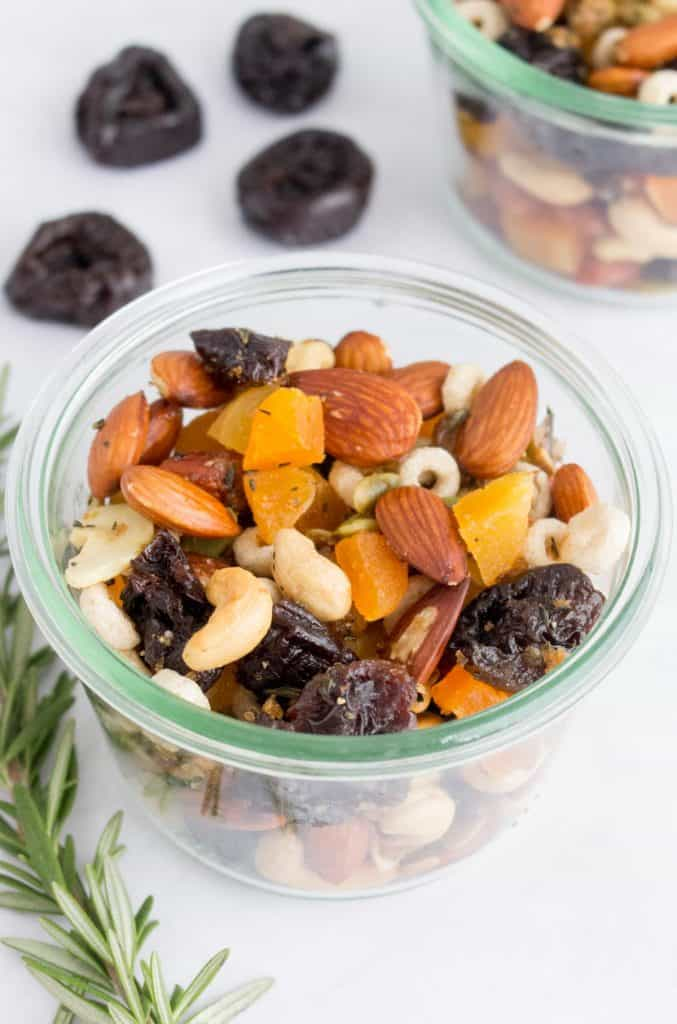 weck jar with homemade trail mix