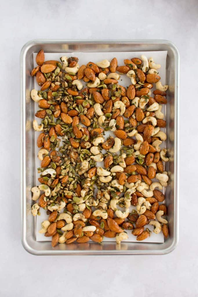 sheet pan with mixed nuts to roast