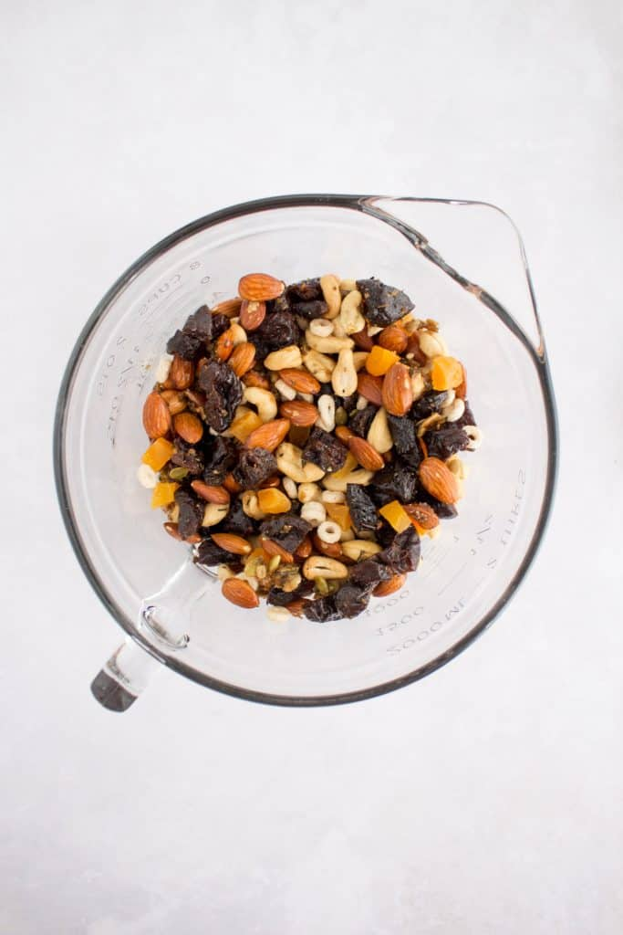 trail mix with roasted nuts and prunes mixed together