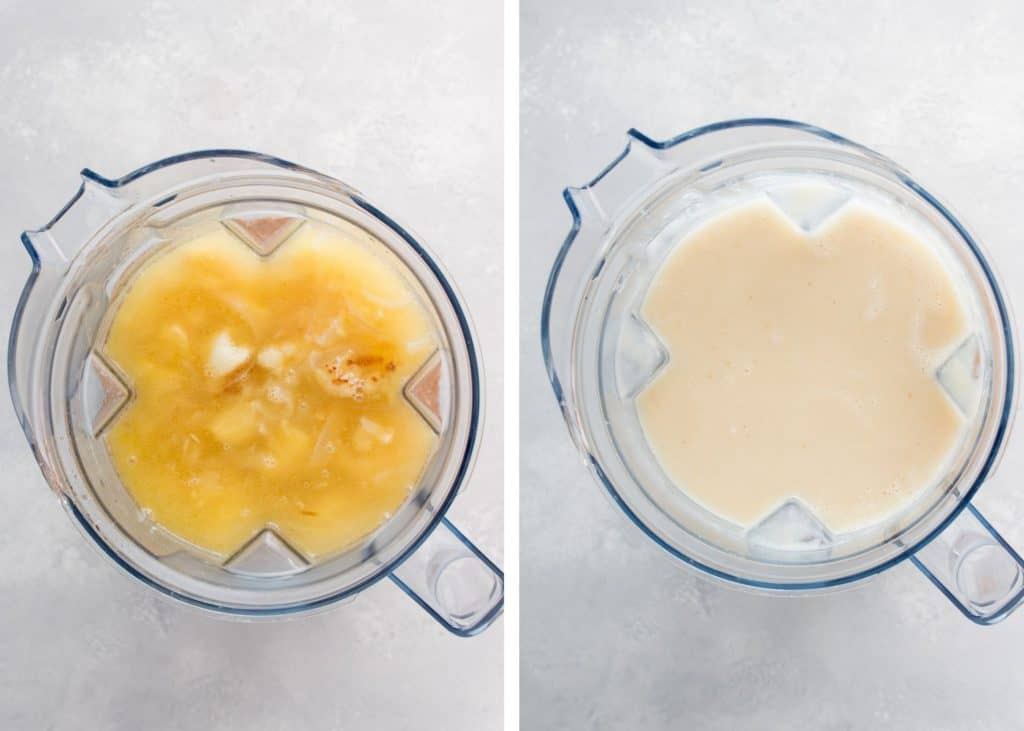 instructional photos of soup before and after blending in a vitamix