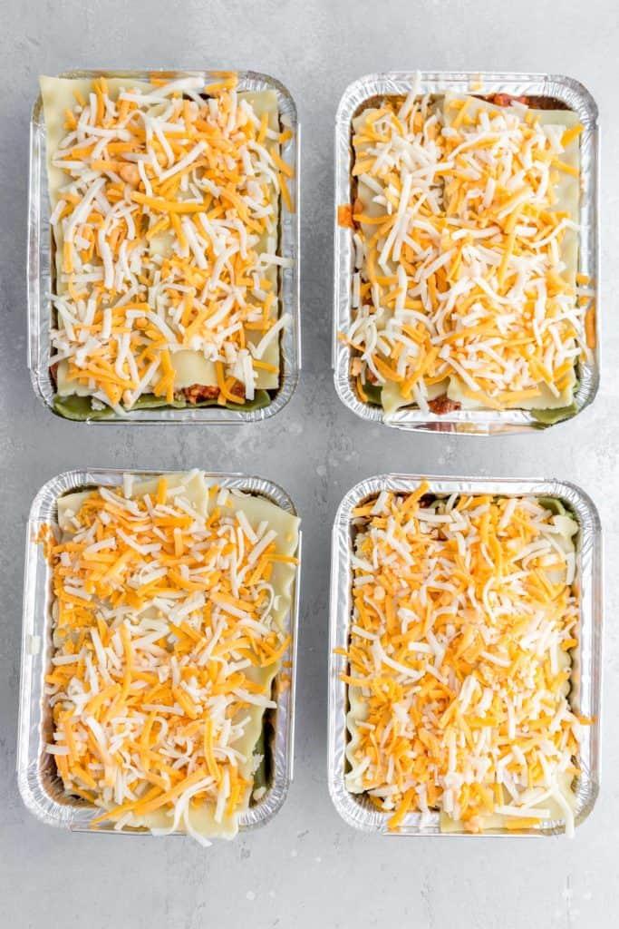 individual lasagnas before being frozen