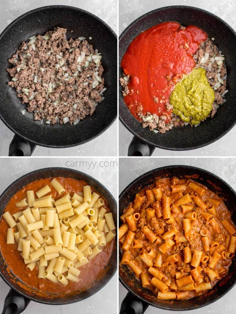 instruction photo set: browning beef, adding sauce, adding pasta, mixing together