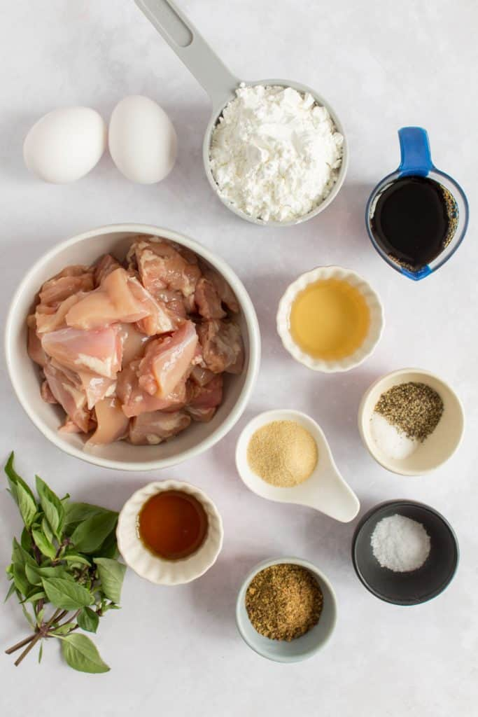 Ingredients for Taiwanese fried chicken.