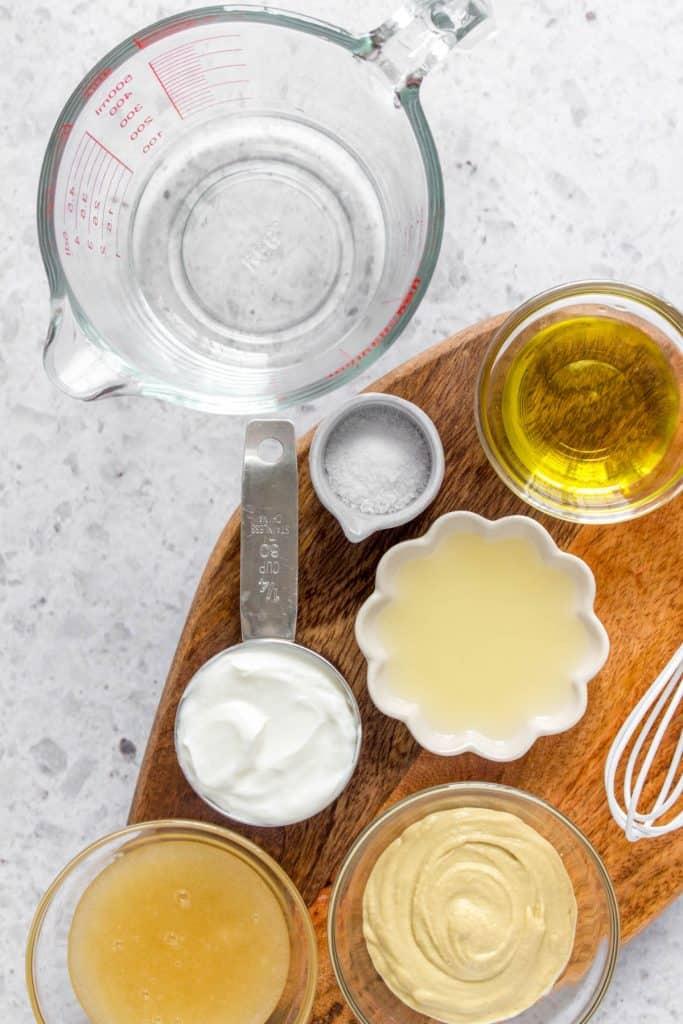 ingredients to make honey mustard dressing