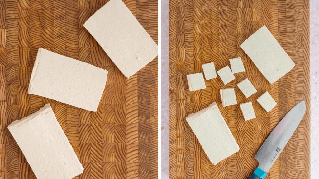 instructional photos of how to cut tofu cubes