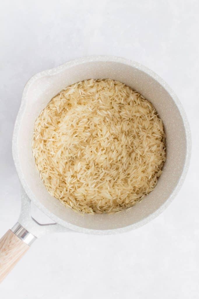 Rice inside of a pot.