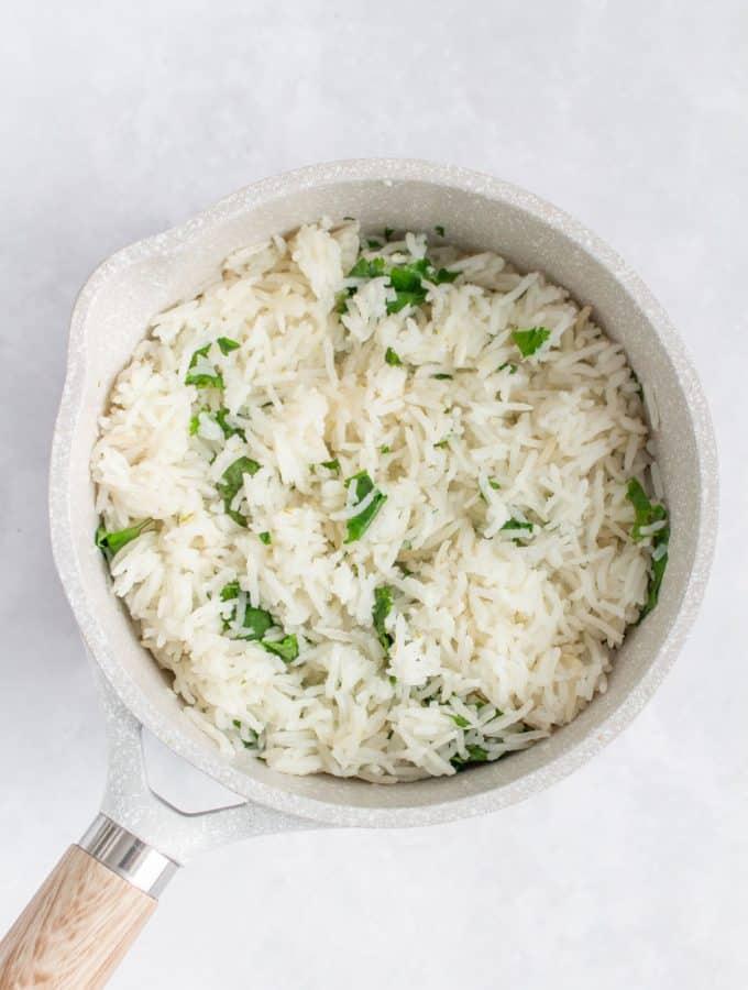 Cilantro lime rice in a pot.