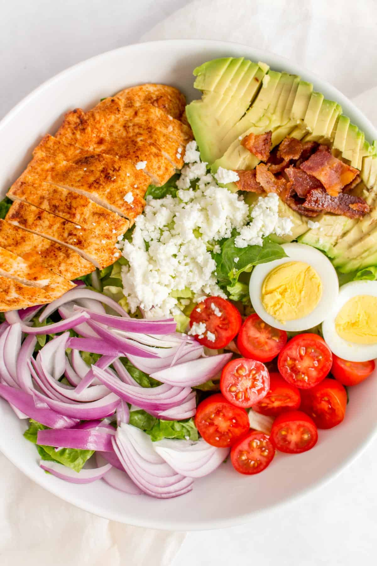 Close up of a cobb salad.