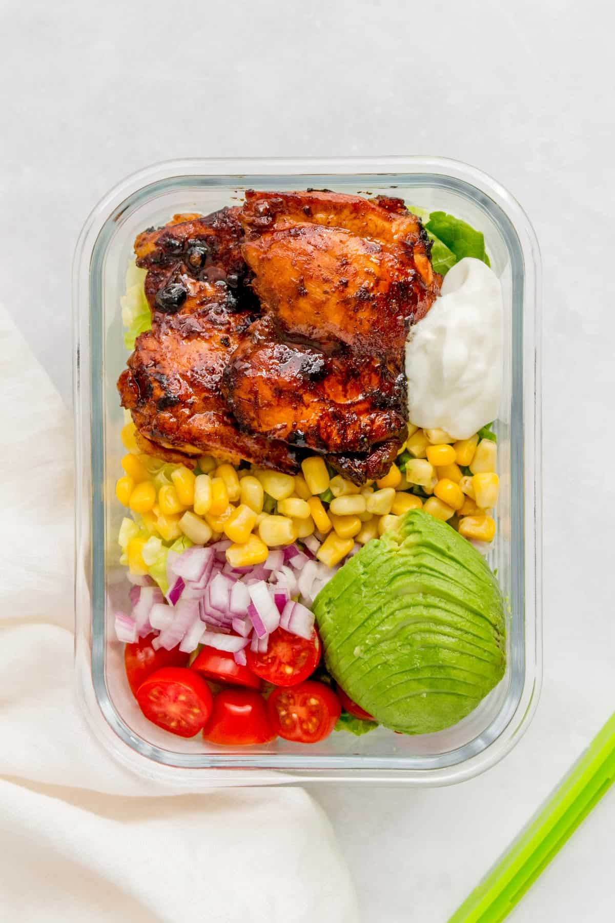 Honey Chipotle Salad in a meal prep container.
