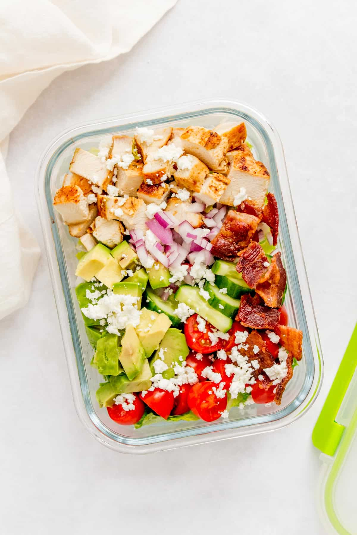 Meal prep container with chopped chicken salad.